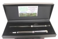 WOODEN BOG OAK CHROME ROLLERBALL PEN AND LETTER OPENER DESKSET