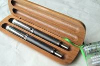 IRISH COLLECTION BOG OAK PENS - Silver Set